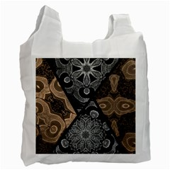 Crazy Beautiful Black Brown Abstract  White Reusable Bag (one Side)