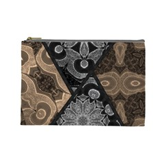 Crazy Beautiful Black Brown Abstract  Cosmetic Bag (large)