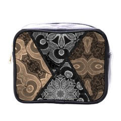 Crazy Beautiful Black Brown Abstract  Mini Travel Toiletry Bag (one Side)