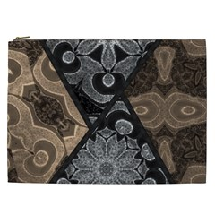 Crazy Beautiful Black Brown Abstract  Cosmetic Bag (xxl)