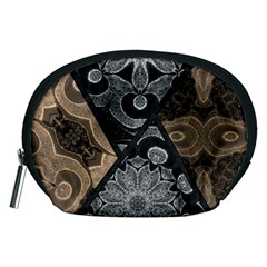 Crazy Beautiful Black Brown Abstract  Accessory Pouch (Medium)