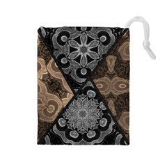 Crazy Beautiful Black Brown Abstract  Drawstring Pouch (Large)