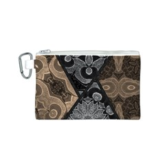 Crazy Beautiful Black Brown Abstract  Canvas Cosmetic Bag (Small)