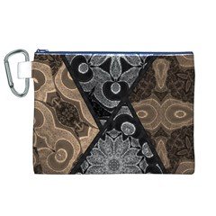 Crazy Beautiful Black Brown Abstract  Canvas Cosmetic Bag (XL)