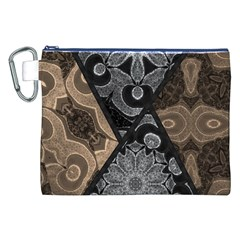 Crazy Beautiful Black Brown Abstract  Canvas Cosmetic Bag (xxl)