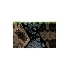 Crazy Beautiful Black Brown Abstract  Cosmetic Bag (xs)
