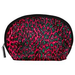 Florescent Pink Leopard Grunge  Accessory Pouch (Large)