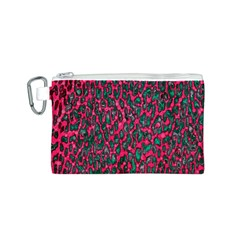 Florescent Pink Leopard Grunge  Canvas Cosmetic Bag (small)