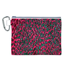 Florescent Pink Leopard Grunge  Canvas Cosmetic Bag (Large)