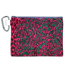 Florescent Pink Leopard Grunge  Canvas Cosmetic Bag (XL)