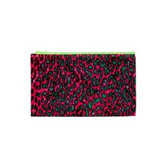 Florescent Pink Leopard Grunge  Cosmetic Bag (XS)