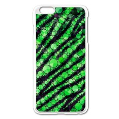 Florescent Green Tiger Bling Pattern  Apple Iphone 6 Plus Enamel White Case