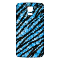 Bright Blue Tiger Bling Pattern  Samsung Galaxy S5 Back Case (white)