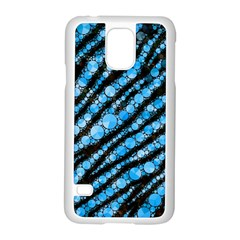 Bright Blue Tiger Bling Pattern  Samsung Galaxy S5 Case (White)