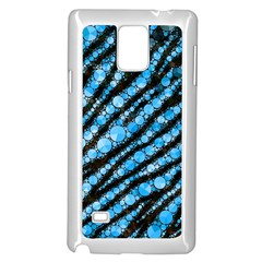 Bright Blue Tiger Bling Pattern  Samsung Galaxy Note 4 Case (White)