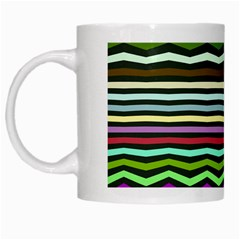 Chevrons And Distorted Stripes White Mug