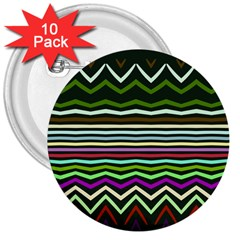 Chevrons And Distorted Stripes 3  Button (10 Pack)