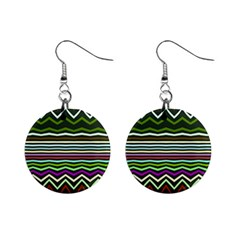 Chevrons And Distorted Stripes 1  Button Earrings