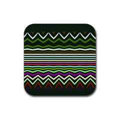 Chevrons And Distorted Stripes Rubber Square Coaster (4 Pack)