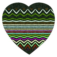 Chevrons And Distorted Stripes Jigsaw Puzzle (heart)