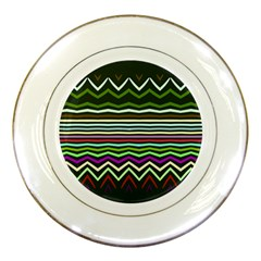 Chevrons And Distorted Stripes Porcelain Plate