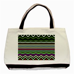Chevrons And Distorted Stripes Basic Tote Bag