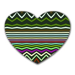 Chevrons And Distorted Stripes Heart Mousepad
