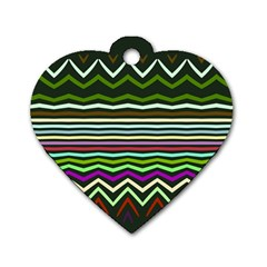 Chevrons And Distorted Stripes Dog Tag Heart (one Side)