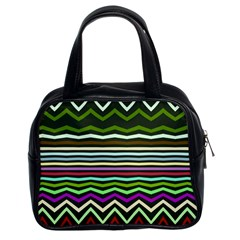 Chevrons And Distorted Stripes Classic Handbag (two Sides)