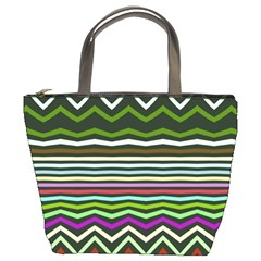 Chevrons And Distorted Stripes Bucket Bag