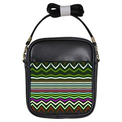 Chevrons And Distorted Stripes Girls Sling Bag