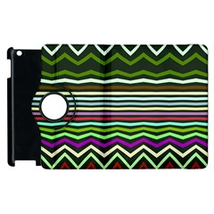 Chevrons And Distorted Stripes Apple Ipad 3/4 Flip 360 Case