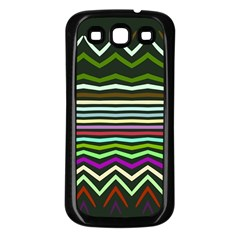 Chevrons And Distorted Stripes Samsung Galaxy S3 Back Case (black)