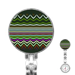 Chevrons And Distorted Stripes Stainless Steel Nurses Watch