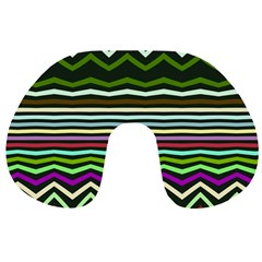 Chevrons And Distorted Stripes Travel Neck Pillow