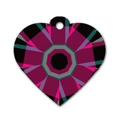 Striped Hole Dog Tag Heart (one Side)