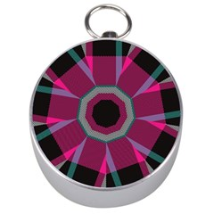Striped hole Silver Compass