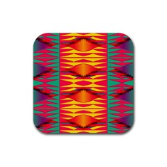 Colorful Tribal Texture Rubber Coaster (square)