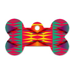 Colorful Tribal Texture Dog Tag Bone (two Sides)