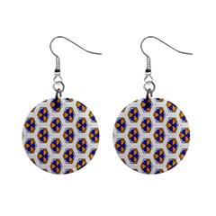 Orange Blue Honeycomb Pattern 1  Button Earrings