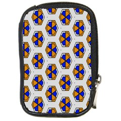 Orange Blue Honeycomb Pattern Compact Camera Leather Case