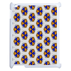 Orange Blue Honeycomb Pattern Apple Ipad 2 Case (white)