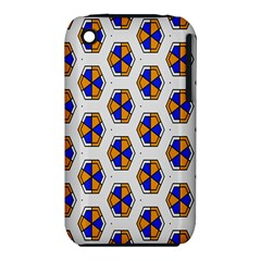 Orange Blue Honeycomb Pattern Apple Iphone 3g/3gs Hardshell Case (pc+silicone)