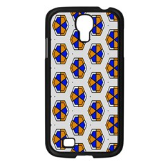 Orange Blue Honeycomb Pattern Samsung Galaxy S4 I9500/ I9505 Case (black)