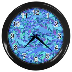 Blue Confetti Storm Wall Clock (Black)