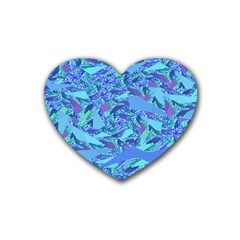 Blue Confetti Storm Drink Coasters 4 Pack (heart)