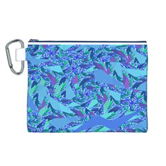 Blue Confetti Storm Canvas Cosmetic Bag (Large)