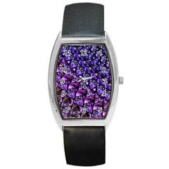 Blue Purple Glass Tonneau Leather Watch