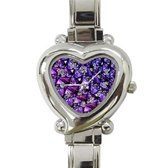 Blue Purple Glass Heart Italian Charm Watch