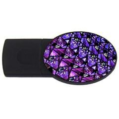 Blue Purple Glass 4gb Usb Flash Drive (oval)